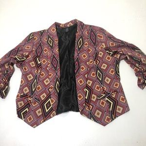 Women's Size 20 Colorful Geo Print Blazer Top